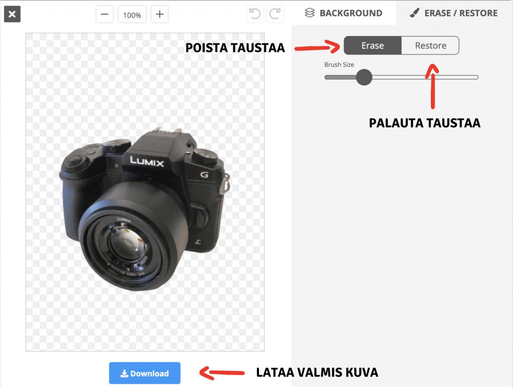 Remove.bg ohjeistus kuvan muokkaamiseen