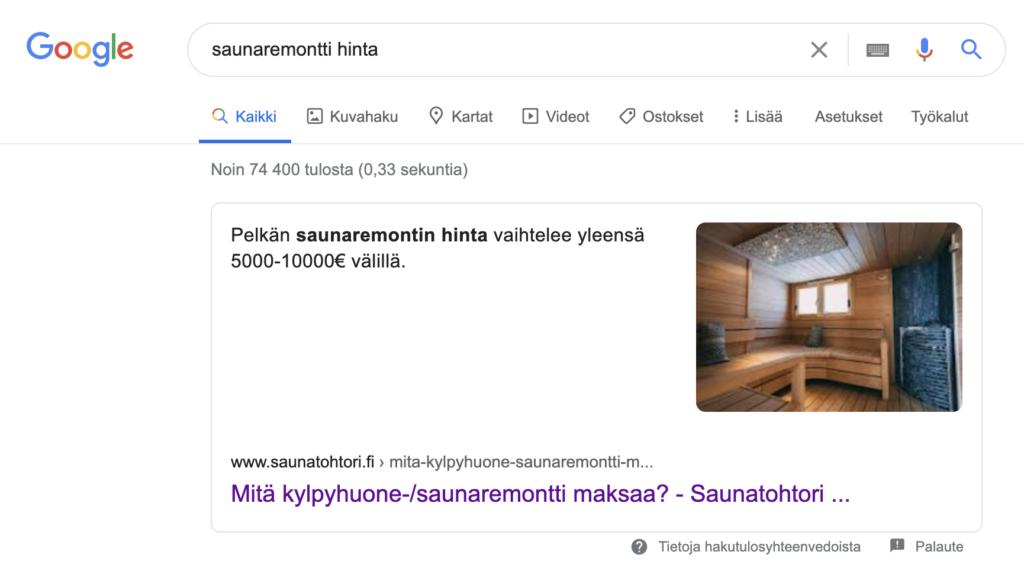 Hakukoneoptimointi esimerkki saunaremontti hinta