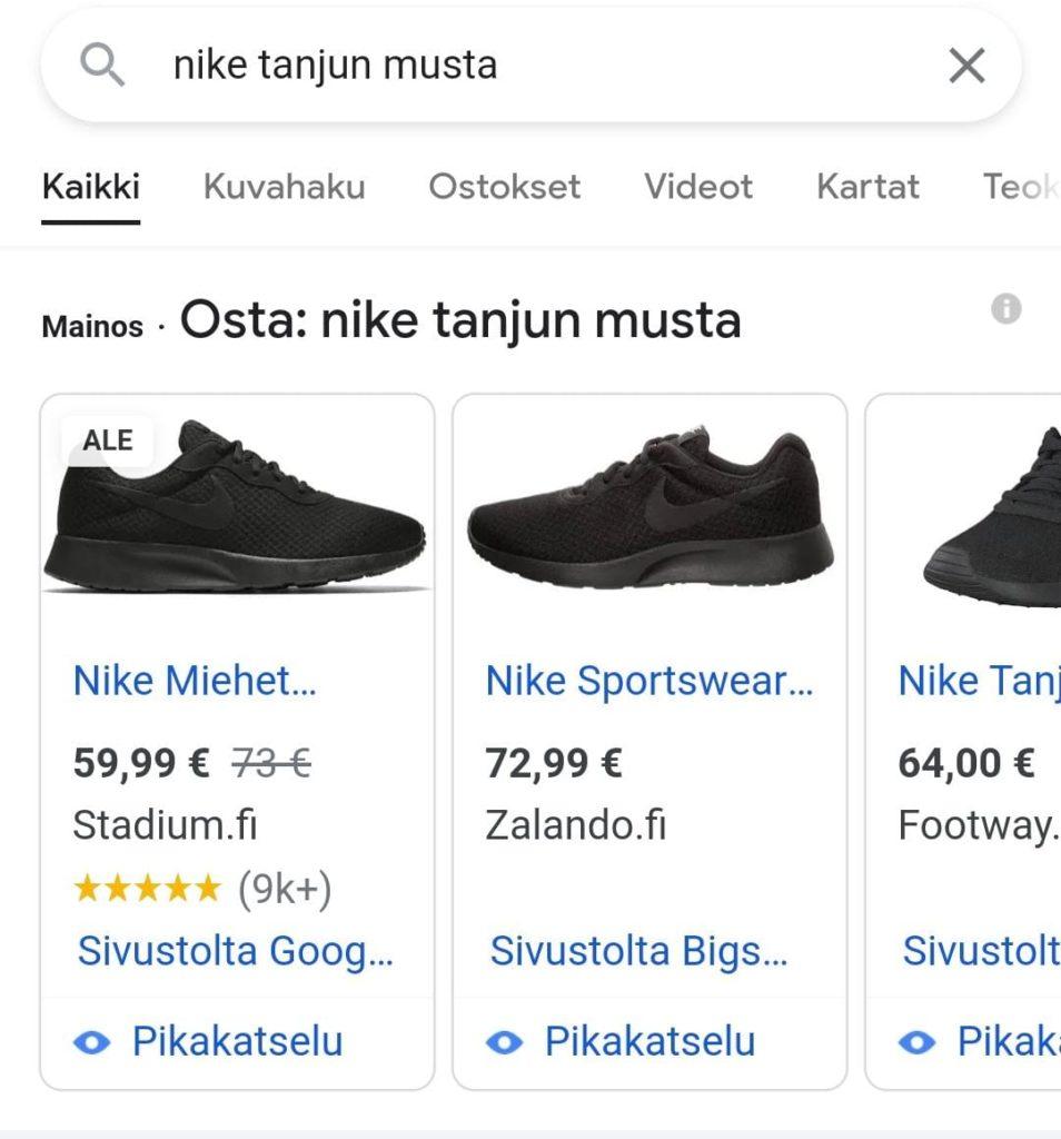 Google Shopping -mainokset puhelimella katsottuna
