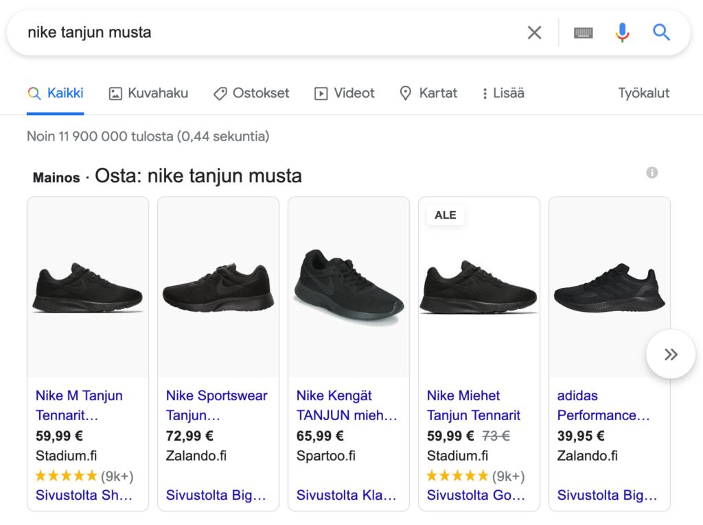 Google Shopping -mainokset tietokone-näkymässä