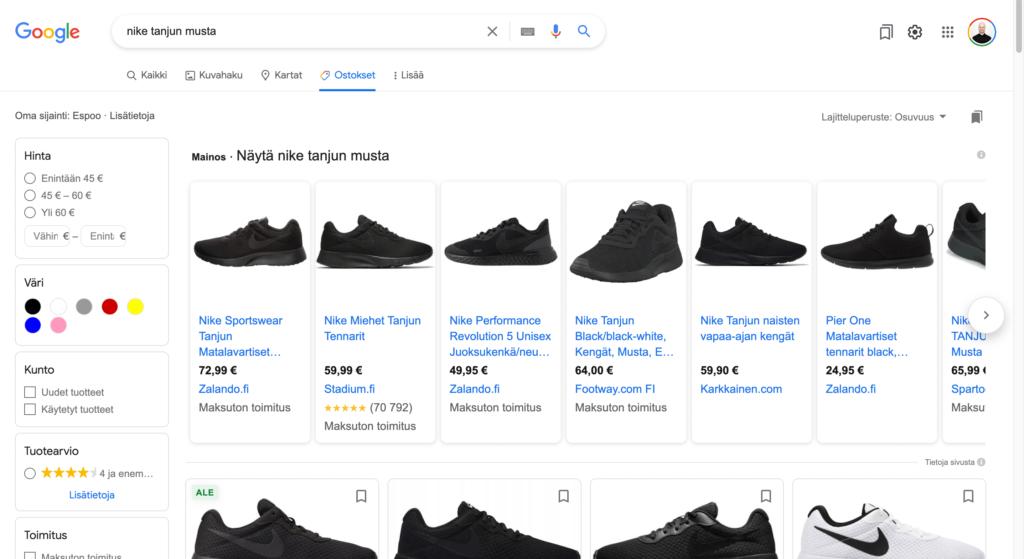 Google haun Ostokset -välilehti